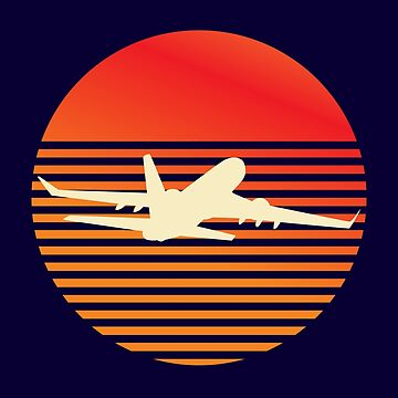 Vintage Sunset Airplane by kedsi