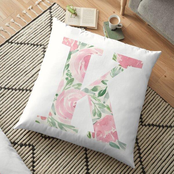 Watercolor floral letter K Floor Pillow