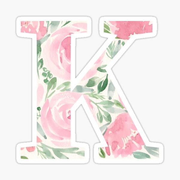 Watercolor floral letter K Sticker