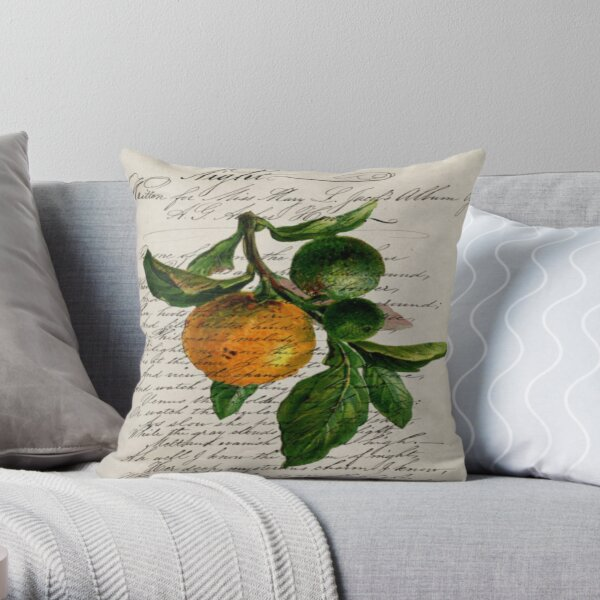 scripts Shabby French botanical print mandarin orange Throw Pillow