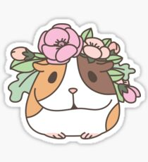 Flowers and Guinea pig pattern, spring floral Pattern  Sticker