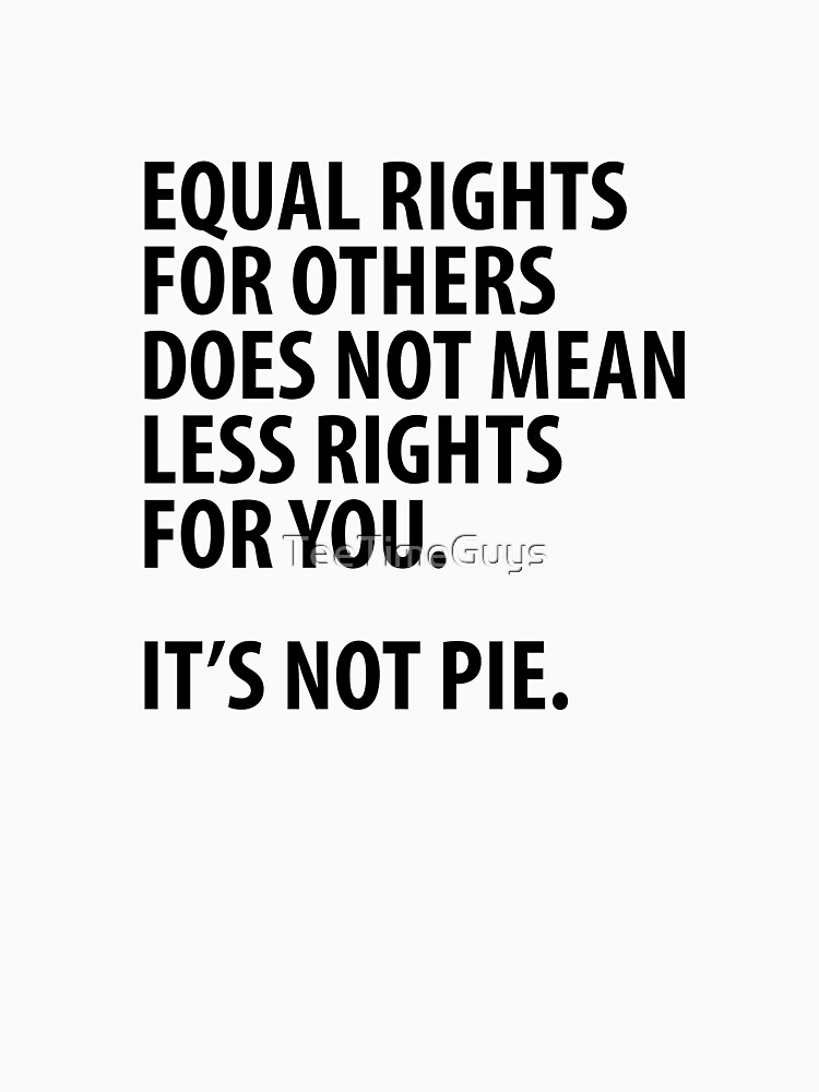 Equal Rights Does Not Mean Less Rights For You It's Not Pie V14 by TeeTimeGuys