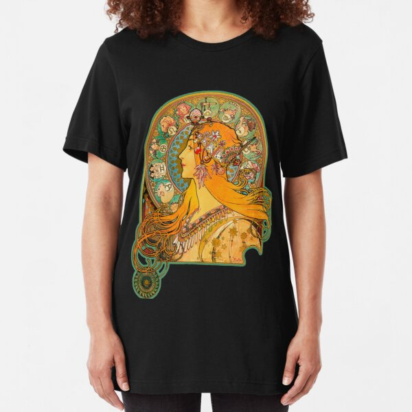 HD Zodiac, (1896) - Alphonse Mucha Slim Fit T-Shirt