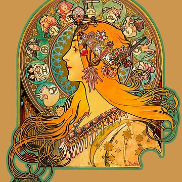 HD Zodiac, (1896) - Alphonse Mucha by mindthecherry