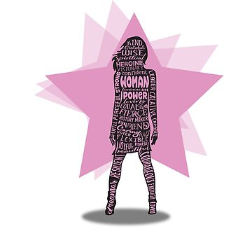 Woman Power Word Cloud Silhouette - Pink Stars by jitterfly