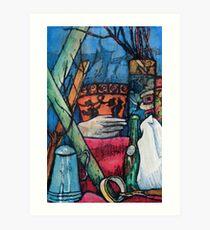 Blue and Orange Pots Art Print