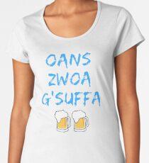 Oans zwoa gsuffa with beer measure Women's Premium T-Shirt