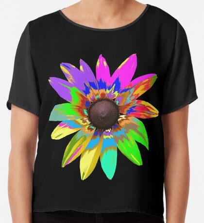 wunderschöne bunte Blume, Regenbogen, Blüte, Natur Chiffontop für Frauen