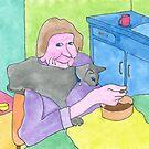 Lady with cat by David Kilpatrick