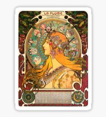 HD. Zodiac (Second version), by Alphonse Mucha (1896) HIGH DEFINITION  Sticker