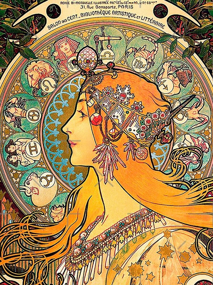 HD. Zodiac (Second version), by Alphonse Mucha (1896) HIGH DEFINITION  by mindthecherry