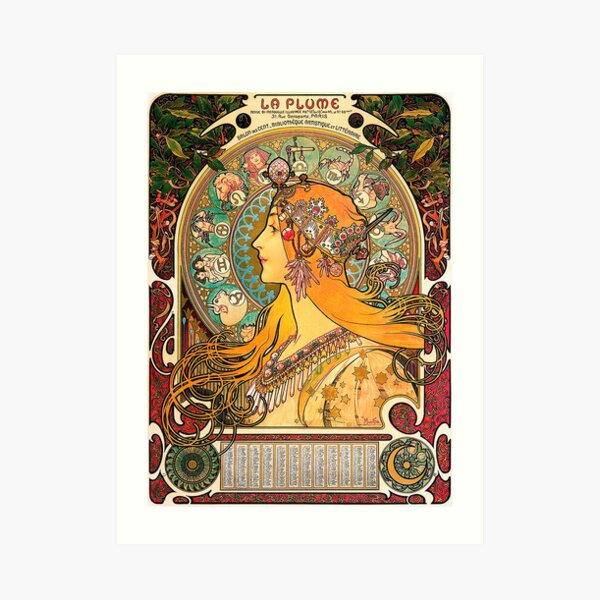 HD. Zodiac (Second version), by Alphonse Mucha (1896) HIGH DEFINITION  Art Print