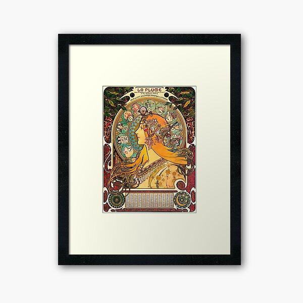 HD. Zodiac (Second version), by Alphonse Mucha (1896) HIGH DEFINITION  Framed Art Print