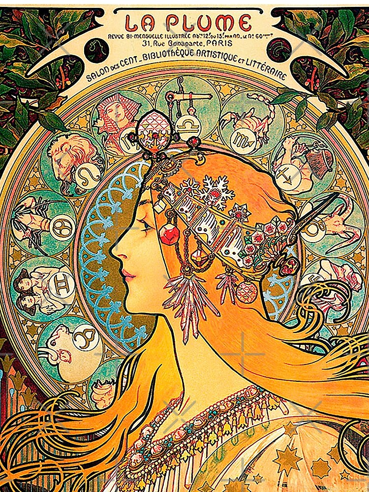 HD. Zodiac (Second version), by Alphonse Mucha (1896) HIGH DEFINITION  by mindthecherry