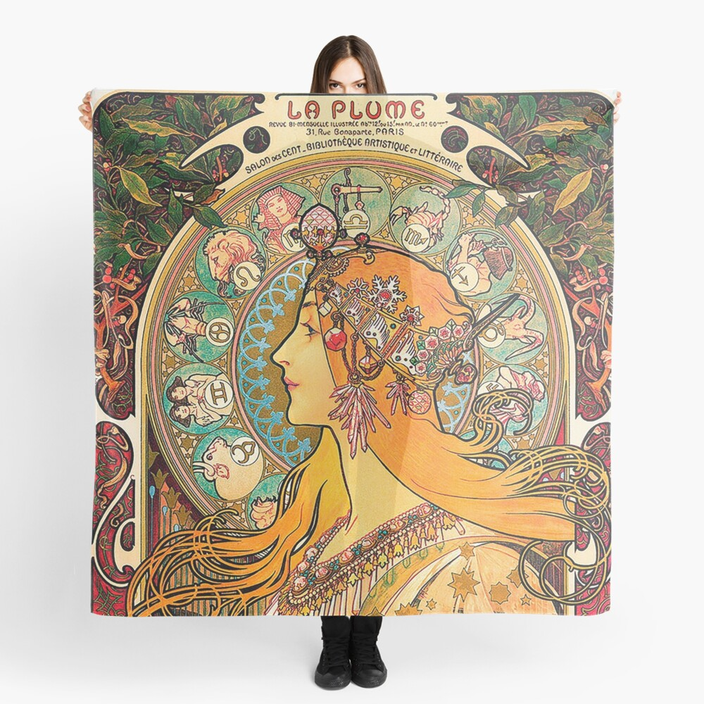 HD. Zodiac (Second version), by Alphonse Mucha (1896) HIGH DEFINITION  Scarf