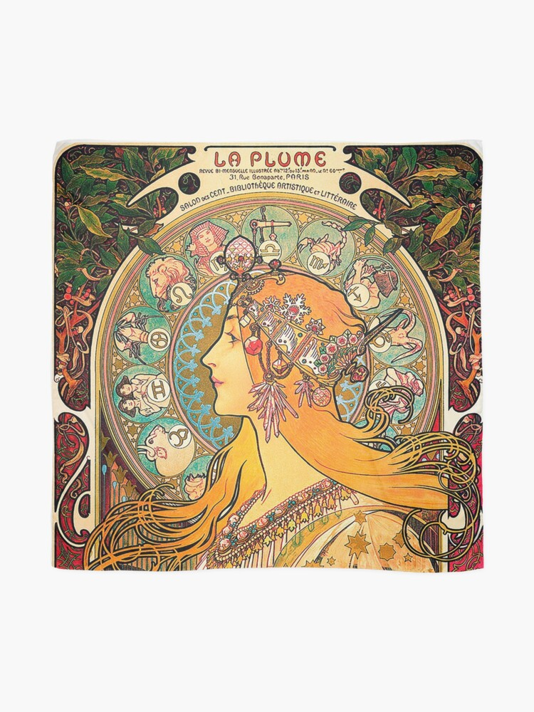 Alternate view of HD. Zodiac (Second version), by Alphonse Mucha (1896) HIGH DEFINITION  Scarf
