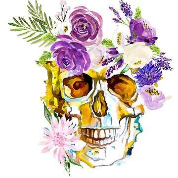 Skull in Flowers by MohsArt