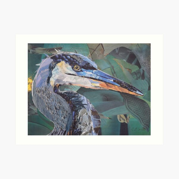 Blue Heron Art Collage by C.E. White Art Print