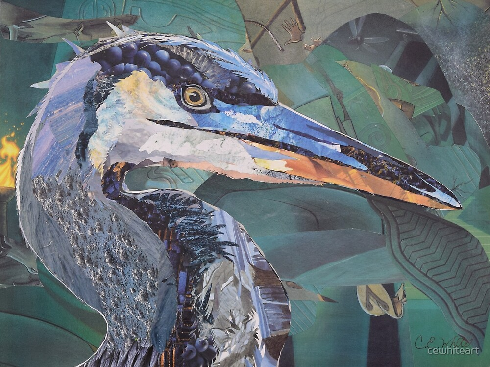 Blue Heron Art Collage by C.E. White by cewhiteart