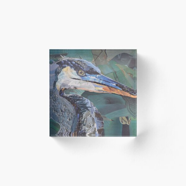 Blue Heron Art Collage by C.E. White Acrylic Block
