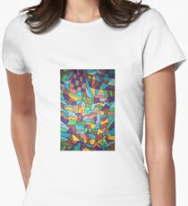 Trippy abstract drawing vibrant colors Women's Fitted T-Shirt
