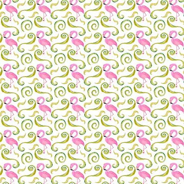 Pretty Pink Flamingos and greenery pattern for the flamingo lover and tropical summer time vacation lover by ApeTown