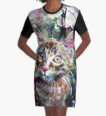 Abstract Kitten Graphic T-Shirt Dress