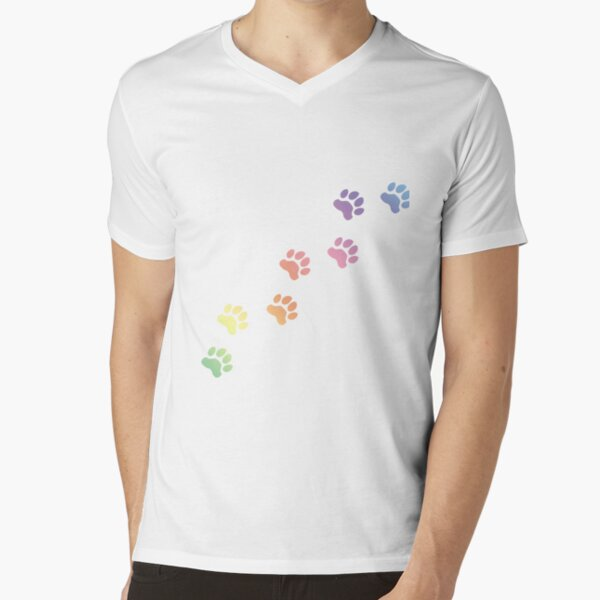 Rainbow Dog tracks, dog footprint, dog paw, dog, doggy, paw print, animal step, dog step, animal tracks, cute paw  V-Neck T-Shirt