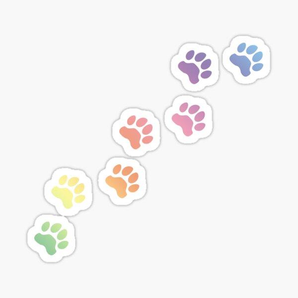 Rainbow Dog tracks, dog footprint, dog paw, dog, doggy, paw print, animal step, dog step, animal tracks, cute paw  Sticker