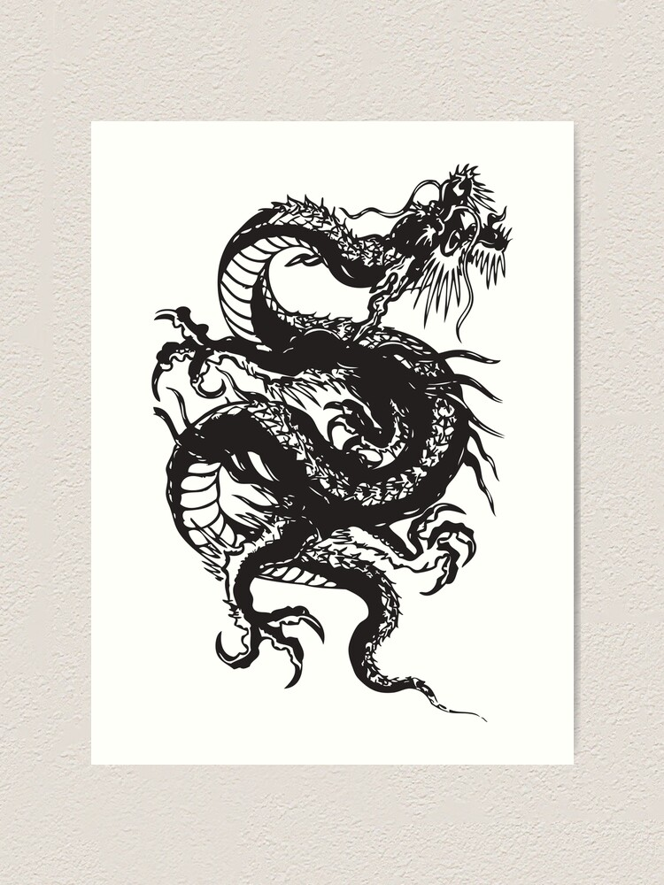 black chinese dragon martial arts kung fu design art print by ryventech redbubble redbubble
