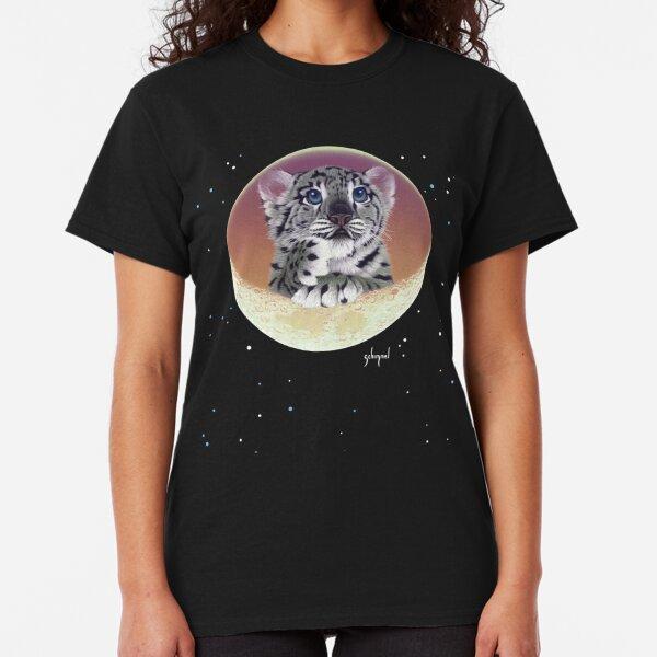 Baby Snow Leopard Cub On Moon Classic T-Shirt