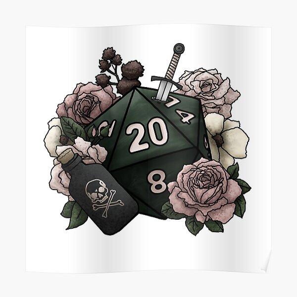 Rogue Class D20 - Tabletop Gaming Dice Poster
