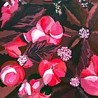 Luxurious Burgundy and Hot Magenta Pink Peonies with Poinsettia by Leah Gay