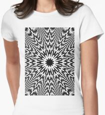 Abstract pattern wallpaper design texture black white decorative fractal art digital blue illustration graphic optical geometric seamless star green color monochrome fabric backdrop illusion red Women's Fitted T-Shirt