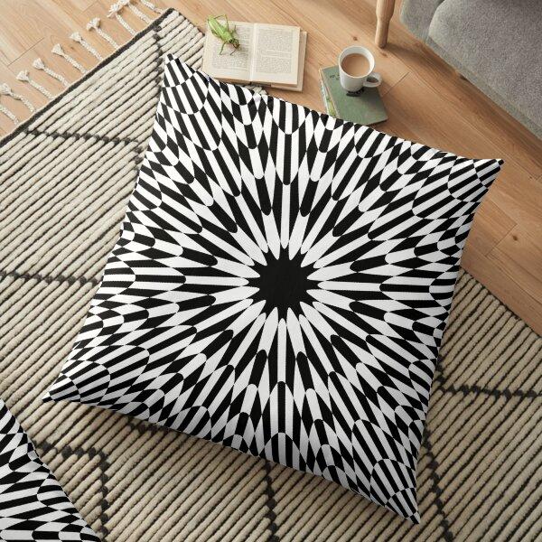 #abstract #pattern #wallpaper #design #texture #black #white #decorative #fractal #art #digital #blue #illustration #graphic #optical #geometric #seamless #star #green #color #monochrome #fabric  Floor Pillow