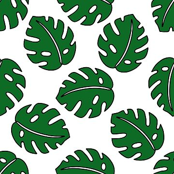 monstera leaf seamless doodle pattern by zizimentos