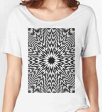 #abstract #pattern #wallpaper #design #texture #black #white #decorative #fractal #art #digital #blue #illustration #graphic #optical #geometric #seamless #star #green #color #monochrome #fabric Women's Relaxed Fit T-Shirt