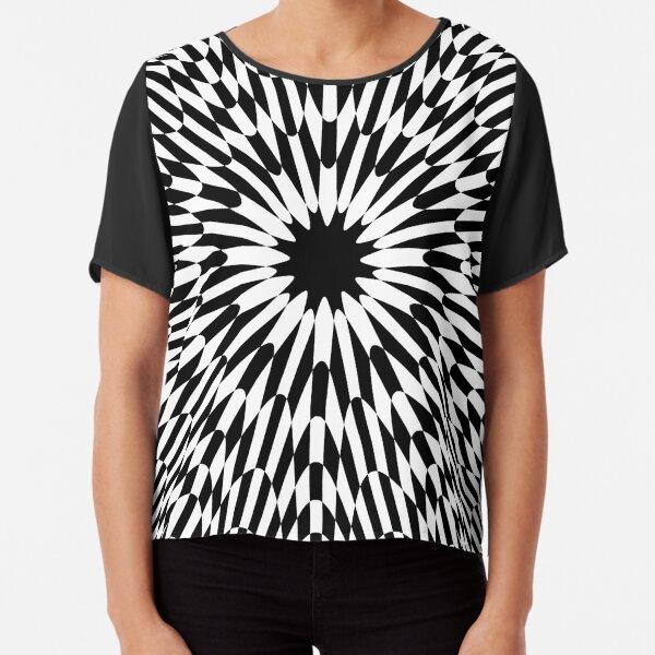#abstract #pattern #wallpaper #design #texture #black #white #decorative #fractal #art #digital #blue #illustration #graphic #optical #geometric #seamless #star #green #color #monochrome #fabric Chiffon Top