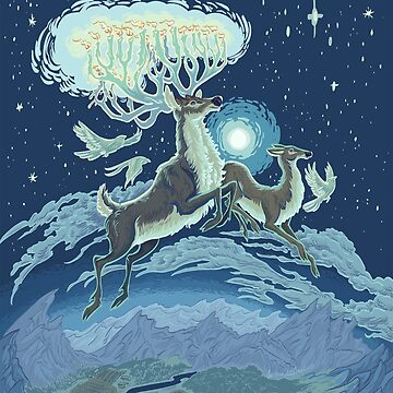 Reindeer Midnight Flight - Blue Hue by carissalapreal