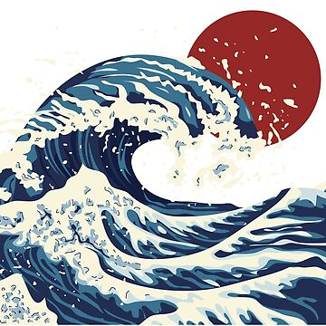 Great Wave with Blood Moon by Ravens-Style
