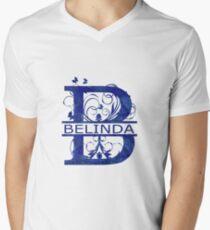 Belinda | Girls Name Monogram | Watercolor and Butterflies Men's V-Neck T-Shirt