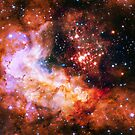 Orange Space Jam Galaxy - Infinite Flower of Life Pattern - Westerlund 2 (Color Enhanced) by SirDouglasFresh