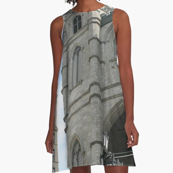 church cathedral architecture building religion tower gothic france europe old city catholic landmark religious portugal travel facade sky history stone ancient monument medieval st tourism A-Line Dress