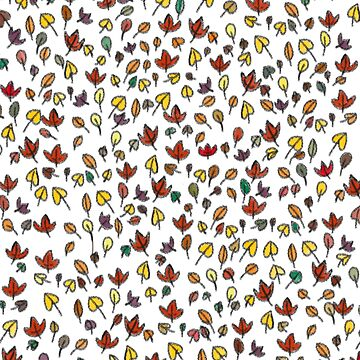 Fall Autumn Leaves Doodle Pattern by MandiKing