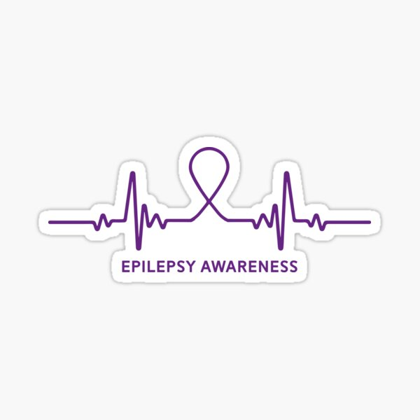 Purple Epilepsy Awareness Heartbeat Sticker