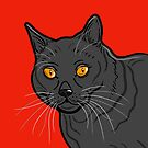 Black Cat Portrait ( Red Background ) by Adam Regester