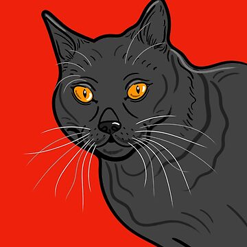 Black Cat Portrait ( Red Background ) by AdamRegester