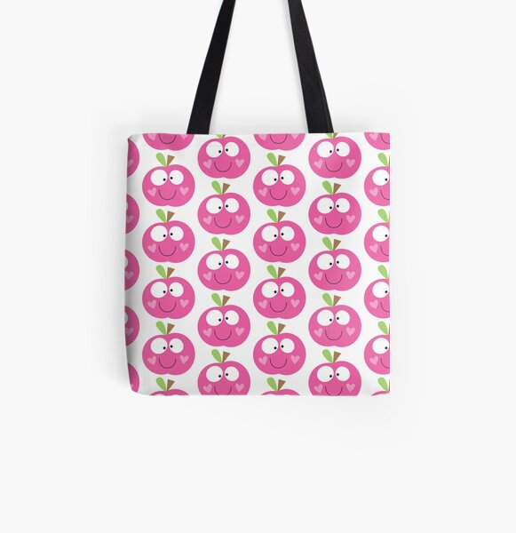 Happy Apple Pink All Over Print Tote Bag