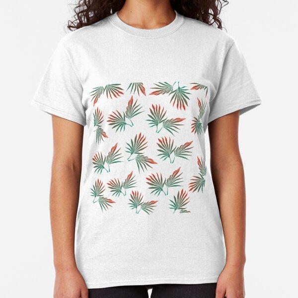 Tropical leaves, pal leaves, tropical leaf, palm leaf, tropical pattern, green and orange Classic T-Shirt