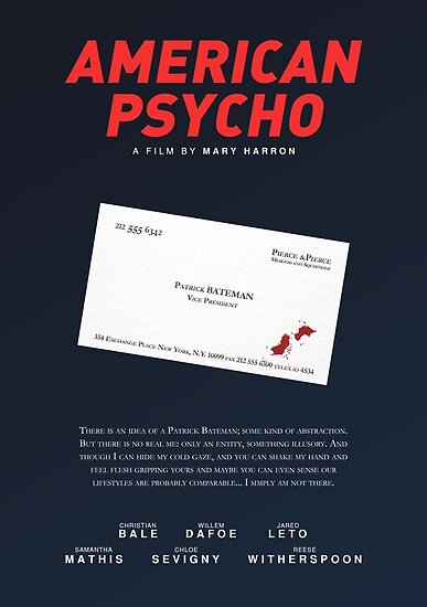 American Psycho Bateman S Blood Smeared Business Card Poster By Pfordy4d